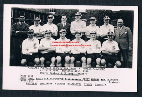 1948 England 10 Nov Wilkes archive card